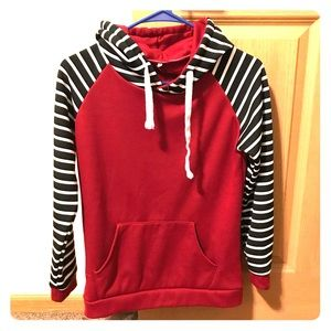 Red and Black/White Striped Hoodie